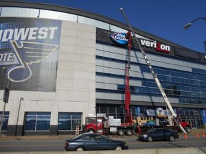 Scottrade Center gets a new Bud Light sign!
