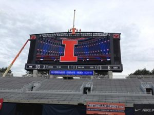 Piros Signs installs NEW Scoreboard for University of Illinois at Memorial Stadium in Champaign, Ill.