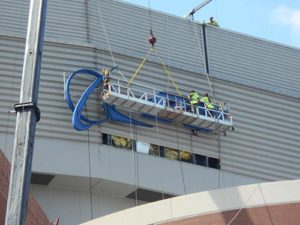 The Boeing sign at Edward Jones Dome gets a little help from Piros Signs.